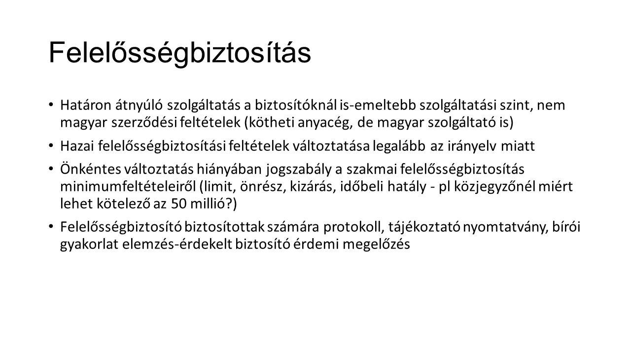 Felelősségbiztosítás Határon átnyúló szolgáltatás a biztosítóknál is-emeltebb szolgáltatási szint, nem magyar szerződési feltételek (kötheti anyacég,