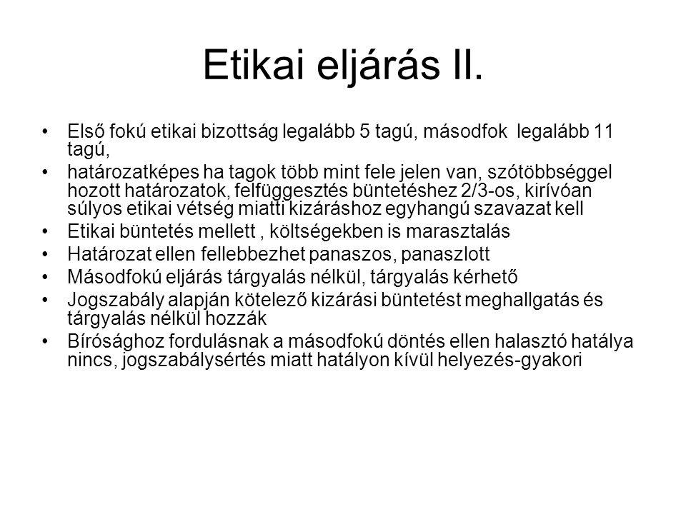 Etikai eljárás II.