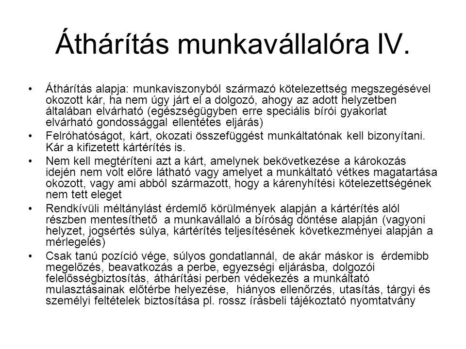 Áthárítás munkavállalóra IV.