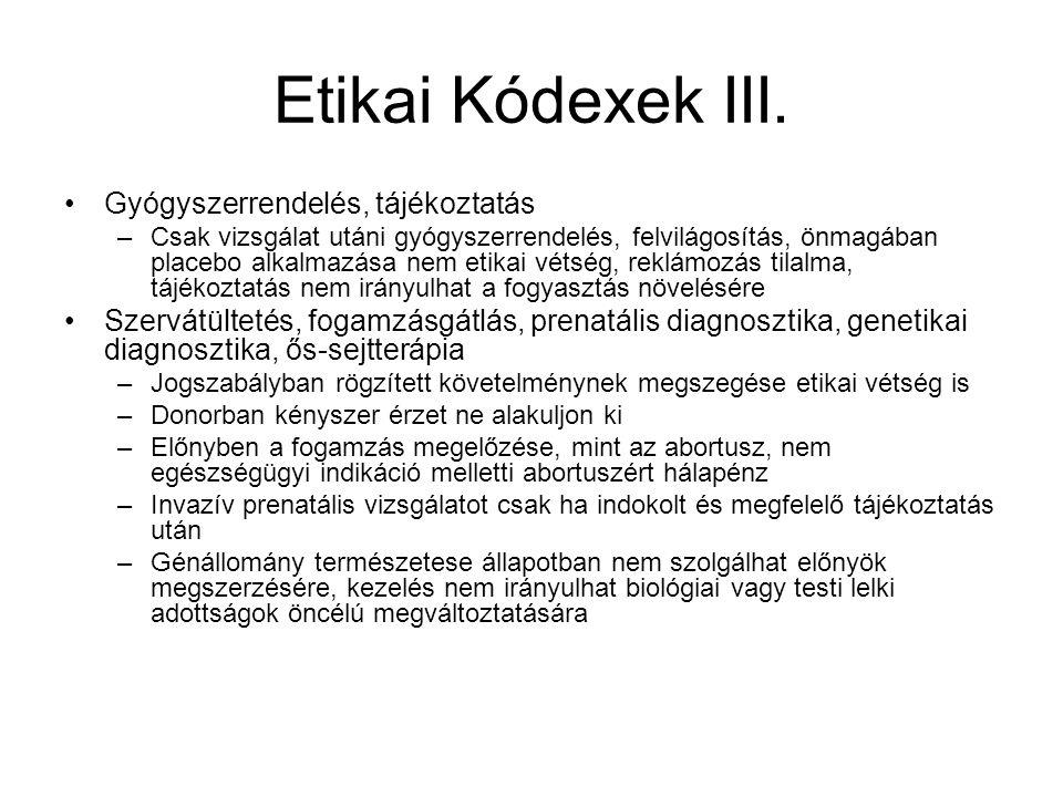 Etikai Kódexek III.