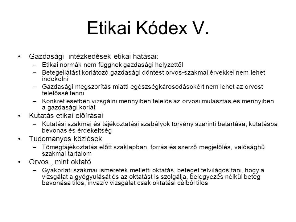 Etikai Kódex V.