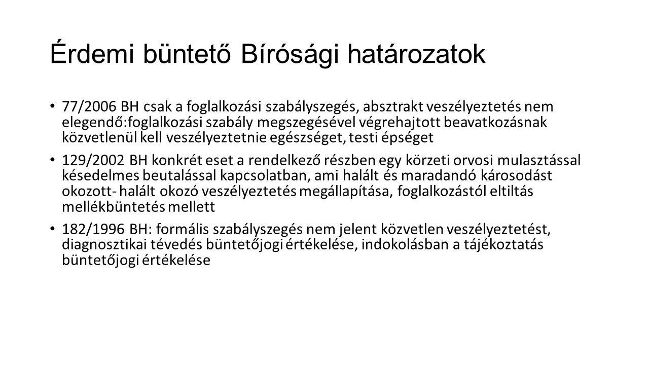 Érdemi büntető Bírósági határozatok 77/2006 BH csak a foglalkozási szabályszegés, absztrakt veszélyeztetés nem elegendő:foglalkozási szabály megszegés