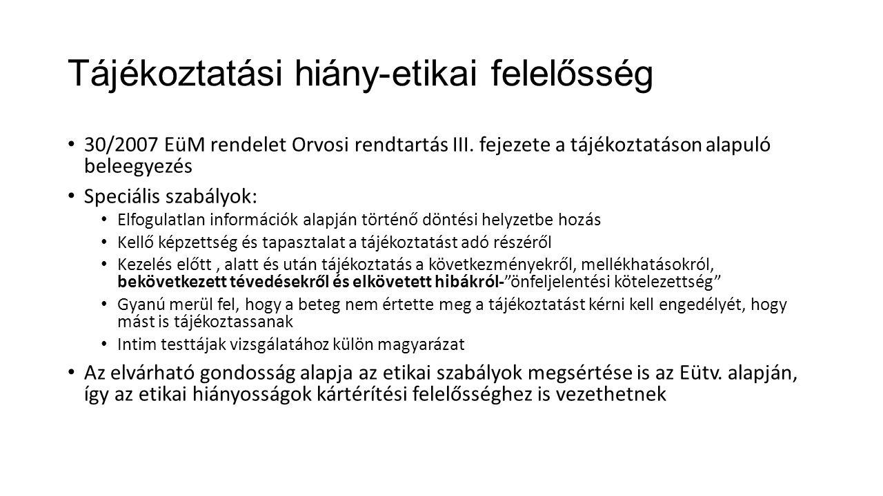 Tájékoztatási hiány-etikai felelősség 30/2007 EüM rendelet Orvosi rendtartás III.
