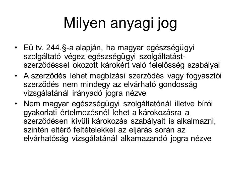 Milyen anyagi jog Eü tv. 244.§-a alapján, ha magyar egészségügyi szolgáltató végez egészségügyi szolgáltatást- szerződéssel okozott károkért való fele