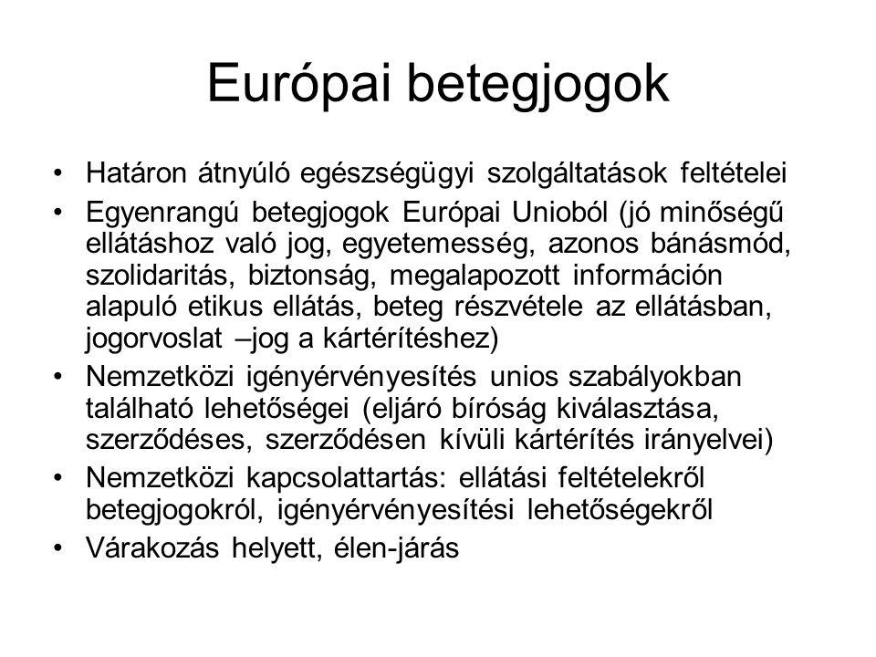 Európai betegjogok Határon átnyúló egészségügyi szolgáltatások feltételei Egyenrangú betegjogok Európai Unioból (jó minőségű ellátáshoz való jog, egyetemesség, azonos bánásmód, szolidaritás, biztonság, megalapozott információn alapuló etikus ellátás, beteg részvétele az ellátásban, jogorvoslat –jog a kártérítéshez) Nemzetközi igényérvényesítés unios szabályokban található lehetőségei (eljáró bíróság kiválasztása, szerződéses, szerződésen kívüli kártérítés irányelvei) Nemzetközi kapcsolattartás: ellátási feltételekről betegjogokról, igényérvényesítési lehetőségekről Várakozás helyett, élen-járás