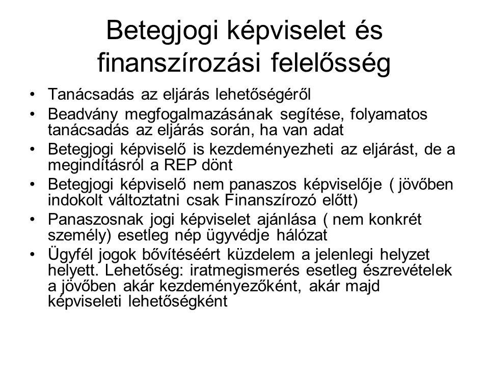 Betegjogi képviselet és finanszírozási felelősség Tanácsadás az eljárás lehetőségéről Beadvány megfogalmazásának segítése, folyamatos tanácsadás az eljárás során, ha van adat Betegjogi képviselő is kezdeményezheti az eljárást, de a megindításról a REP dönt Betegjogi képviselő nem panaszos képviselője ( jövőben indokolt változtatni csak Finanszírozó előtt) Panaszosnak jogi képviselet ajánlása ( nem konkrét személy) esetleg nép ügyvédje hálózat Ügyfél jogok bővítéséért küzdelem a jelenlegi helyzet helyett.