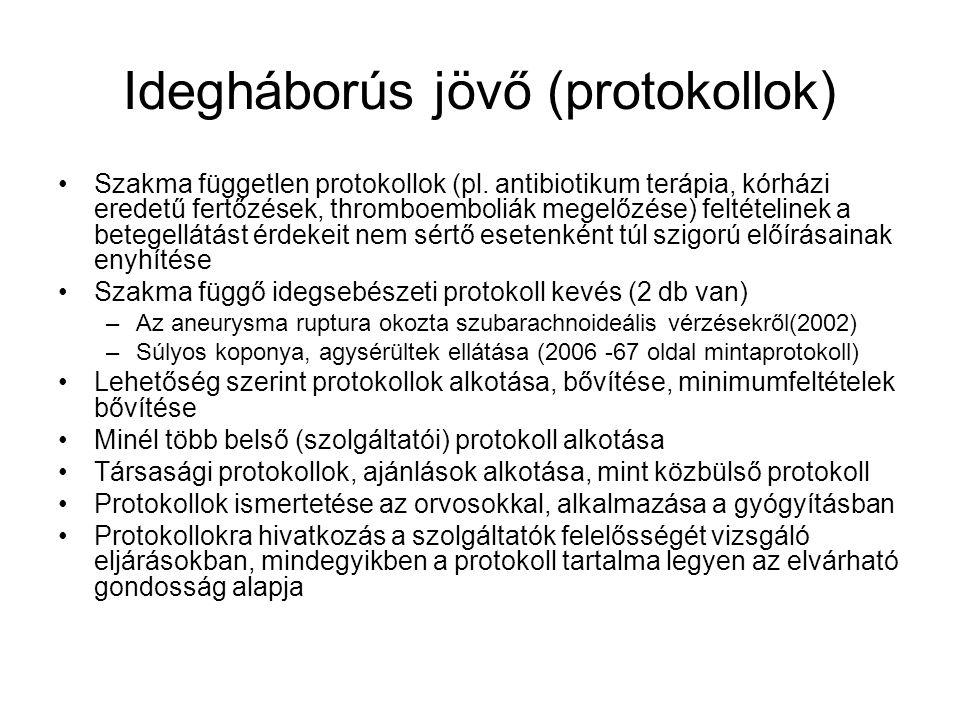 Idegháborús jövő (protokollok) Szakma független protokollok (pl.
