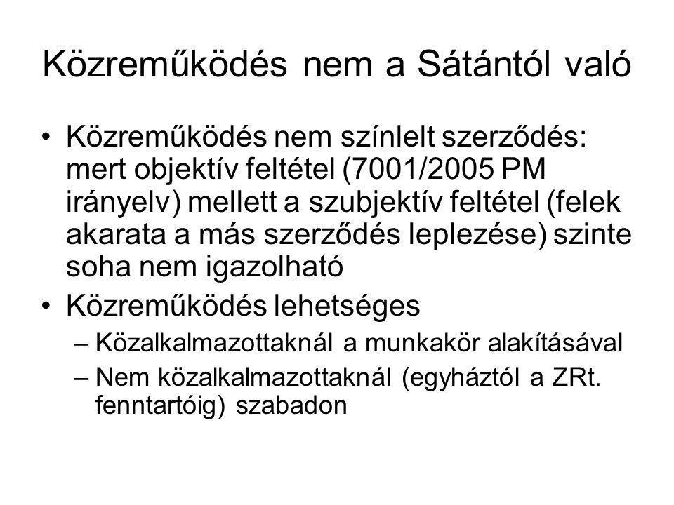 Közreműködés nem a Sátántól való Közreműködés nem színlelt szerződés: mert objektív feltétel (7001/2005 PM irányelv) mellett a szubjektív feltétel (fe