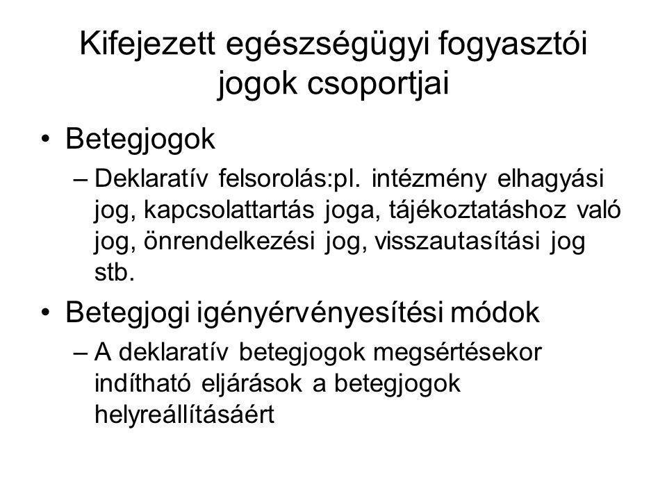 Kifejezett egészségügyi fogyasztói jogok csoportjai Betegjogok –Deklaratív felsorolás:pl. intézmény elhagyási jog, kapcsolattartás joga, tájékoztatásh