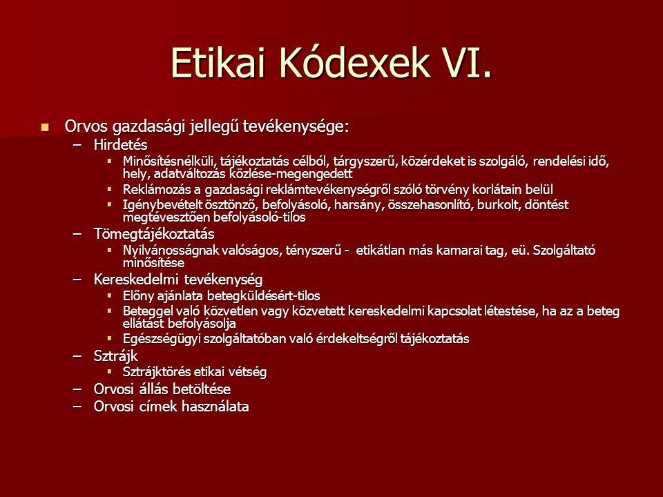 Etikai Kódexek VI. Orvos gazdasági jellegű tevékenysége: Orvos gazdasági jellegű tevékenysége: –Hirdetés  Minősítésnélküli, tájékoztatás célból, tárg