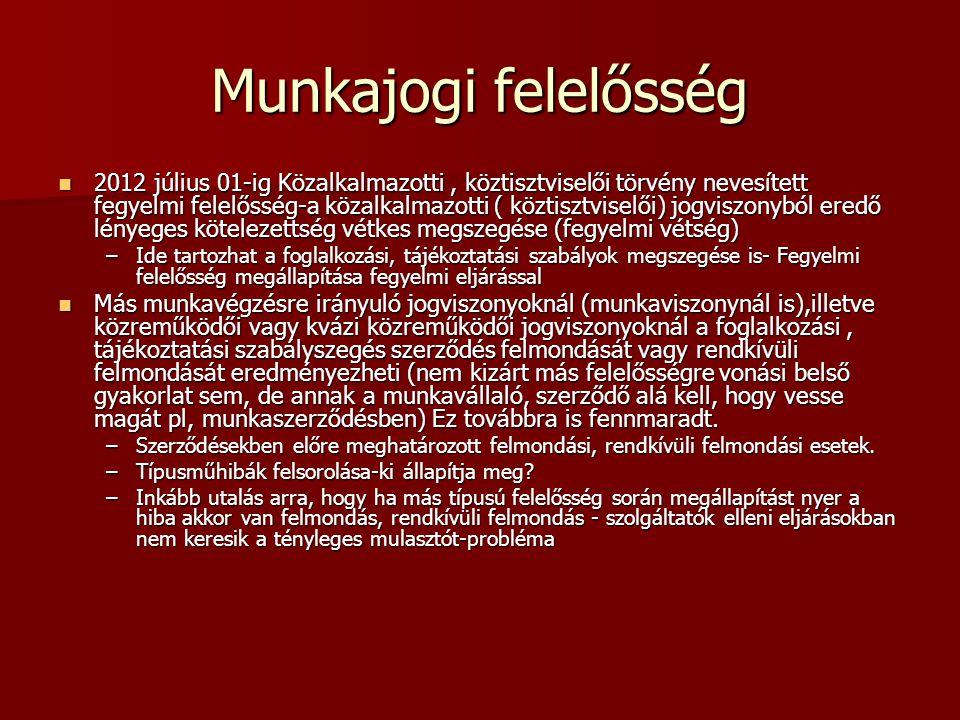 Munkajogi felelősség 2012 július 01-ig Közalkalmazotti, köztisztviselői törvény nevesített fegyelmi felelősség-a közalkalmazotti ( köztisztviselői) jo
