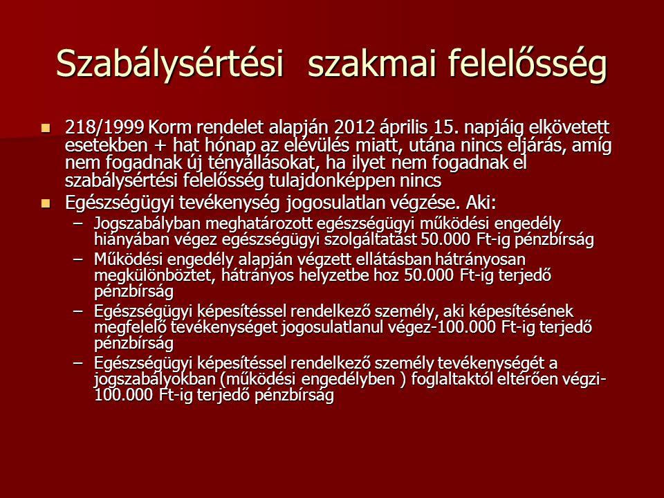 Szabálysértési szakmai felelősség 218/1999 Korm rendelet alapján 2012 április 15. napjáig elkövetett esetekben + hat hónap az elévülés miatt, utána ni