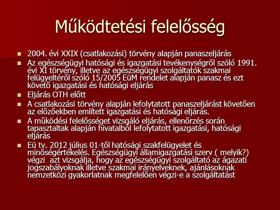 Működtetési felelősség 2004. évi XXIX (csatlakozási) törvény alapján panaszeljárás 2004. évi XXIX (csatlakozási) törvény alapján panaszeljárás Az egés