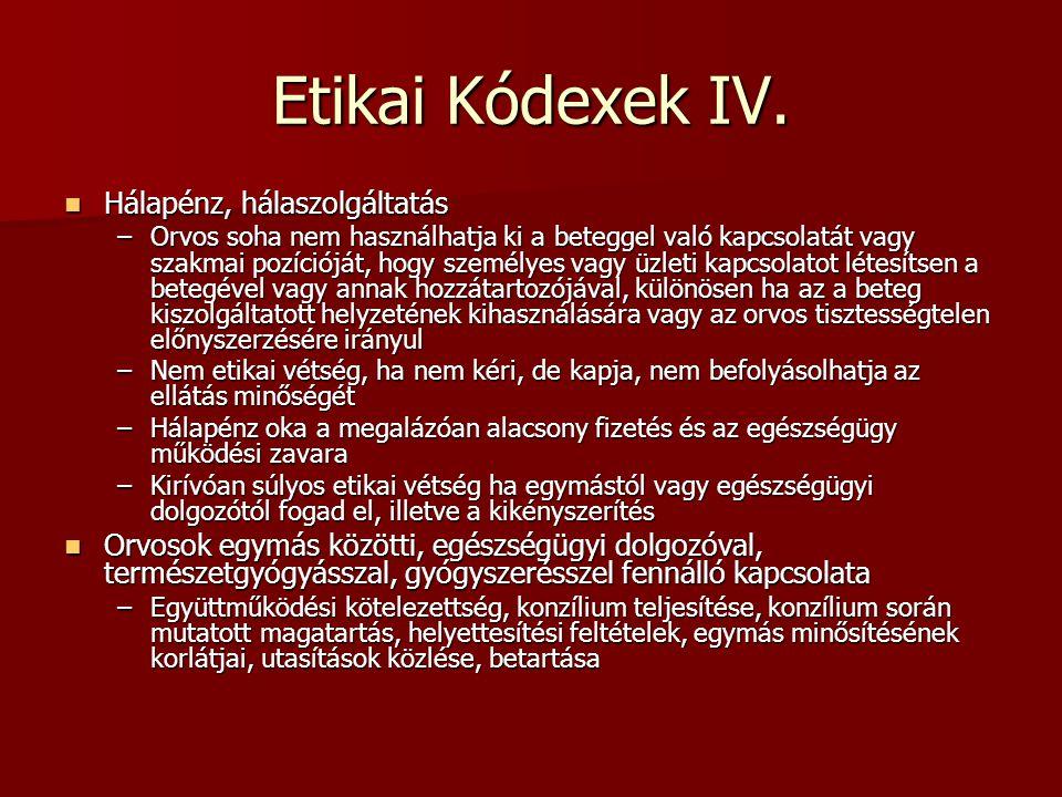 Etikai Kódexek IV. Hálapénz, hálaszolgáltatás Hálapénz, hálaszolgáltatás –Orvos soha nem használhatja ki a beteggel való kapcsolatát vagy szakmai pozí