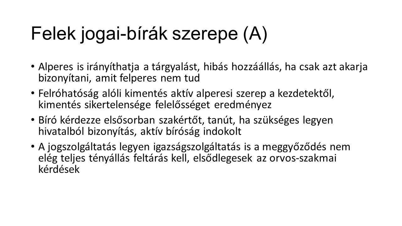 Felek jogai-bírák szerepe (A) Alperes is irányíthatja a tárgyalást, hibás hozzáállás, ha csak azt akarja bizonyítani, amit felperes nem tud Felróhatós