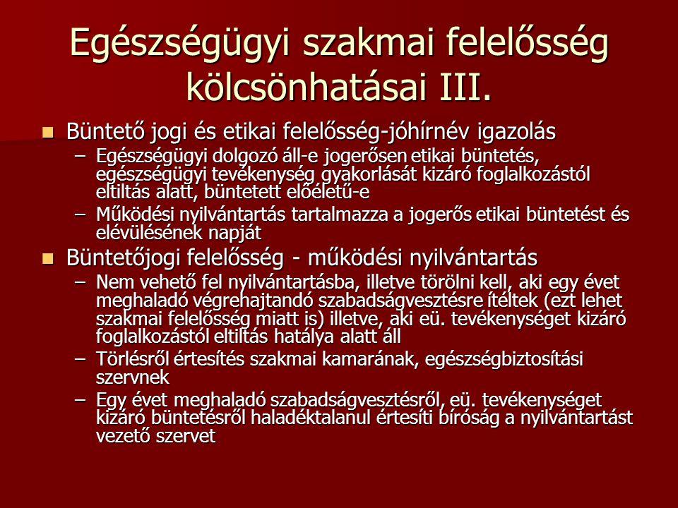 Egészségügyi szakmai felelősség kölcsönhatásai III. Büntető jogi és etikai felelősség-jóhírnév igazolás Büntető jogi és etikai felelősség-jóhírnév iga