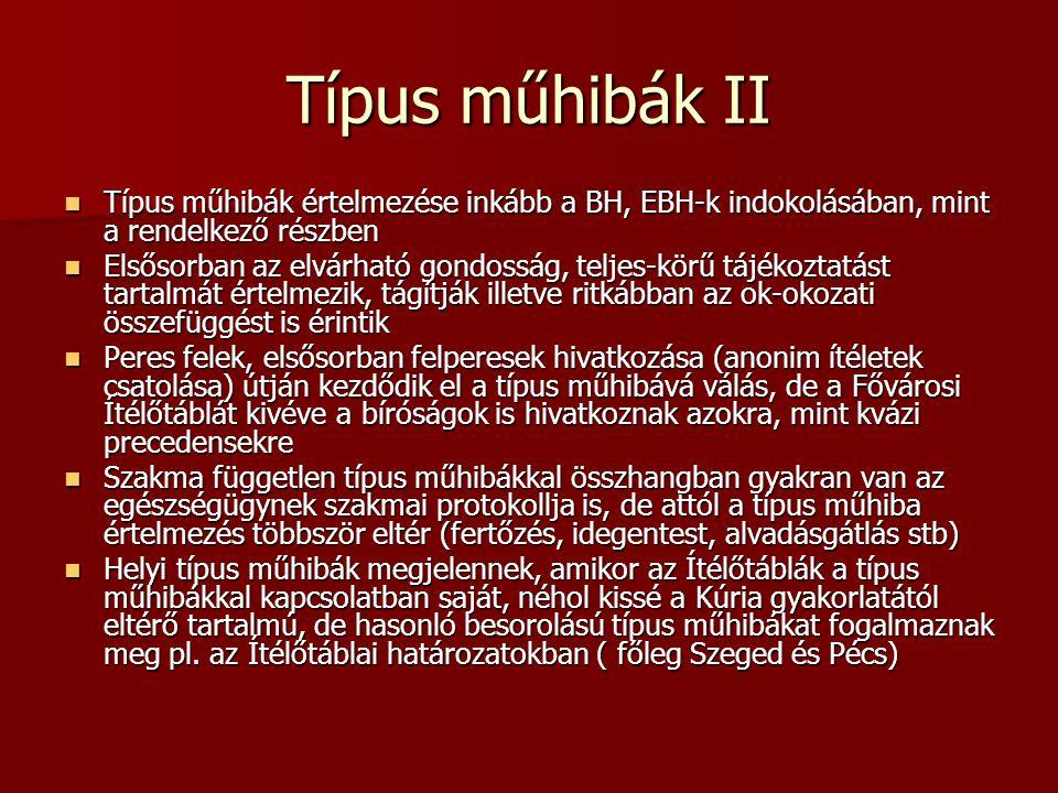 Típus műhibák II Típus műhibák értelmezése inkább a BH, EBH-k indokolásában, mint a rendelkező részben Típus műhibák értelmezése inkább a BH, EBH-k in