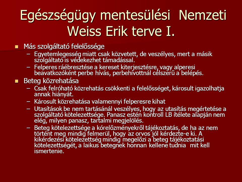 Egészségügy mentesülési Nemzeti Weiss Erik terve I. Egészségügy mentesülési Nemzeti Weiss Erik terve I. Más szolgáltató felelőssége Más szolgáltató fe
