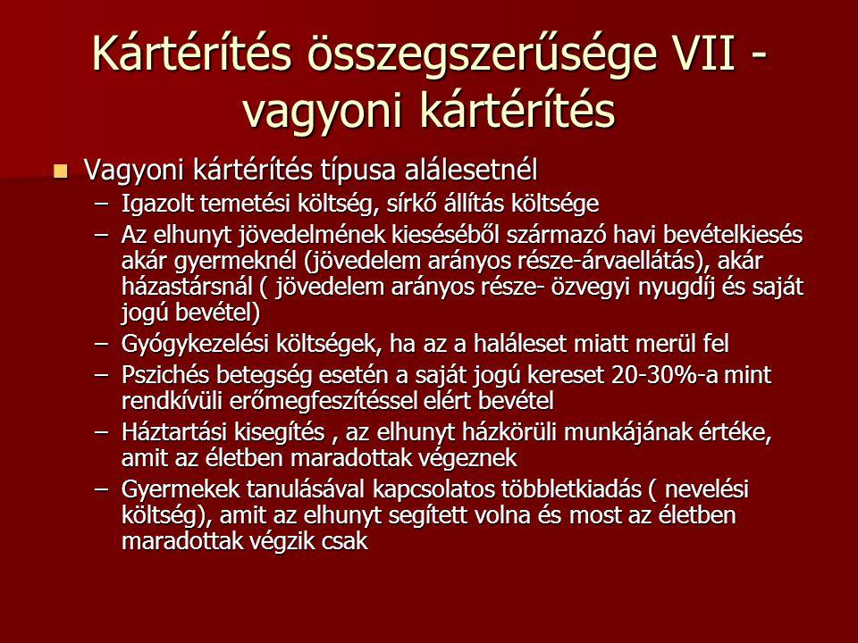 Kártérítés összegszerűsége VII - vagyoni kártérítés Vagyoni kártérítés típusa alálesetnél Vagyoni kártérítés típusa alálesetnél –Igazolt temetési költ