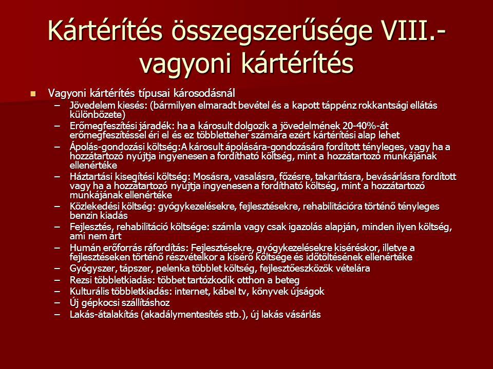 Kártérítés összegszerűsége VIII.- vagyoni kártérítés Vagyoni kártérítés típusai károsodásnál Vagyoni kártérítés típusai károsodásnál –Jövedelem kiesés
