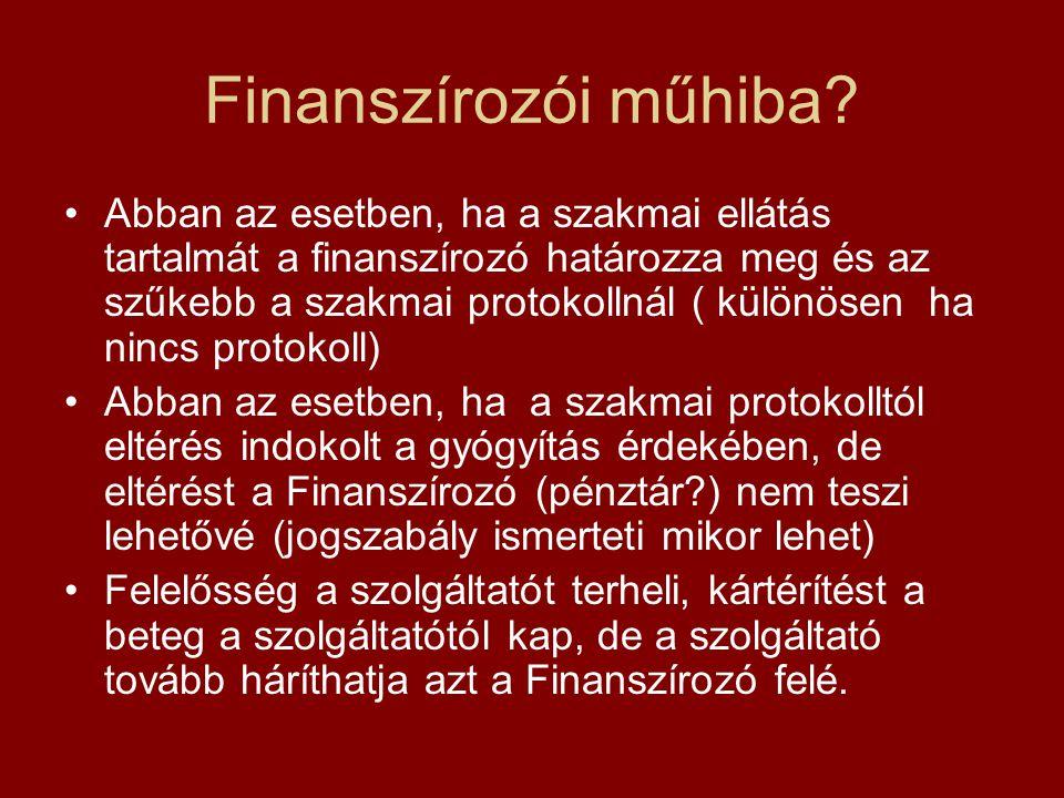 Finanszírozói műhiba? Abban az esetben, ha a szakmai ellátás tartalmát a finanszírozó határozza meg és az szűkebb a szakmai protokollnál ( különösen h