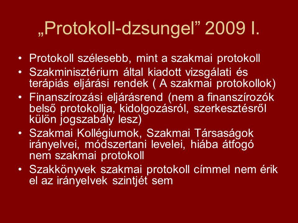 """""""Protokoll-dzsungel"""" 2009 I. Protokoll szélesebb, mint a szakmai protokoll Szakminisztérium által kiadott vizsgálati és terápiás eljárási rendek ( A s"""