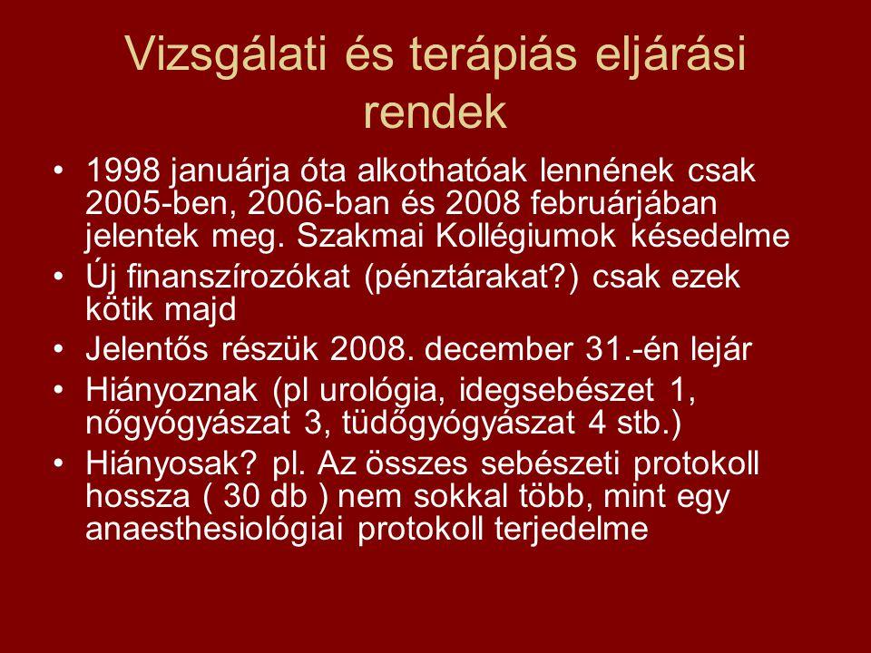 Vizsgálati és terápiás eljárási rendek 1998 januárja óta alkothatóak lennének csak 2005-ben, 2006-ban és 2008 februárjában jelentek meg. Szakmai Kollé