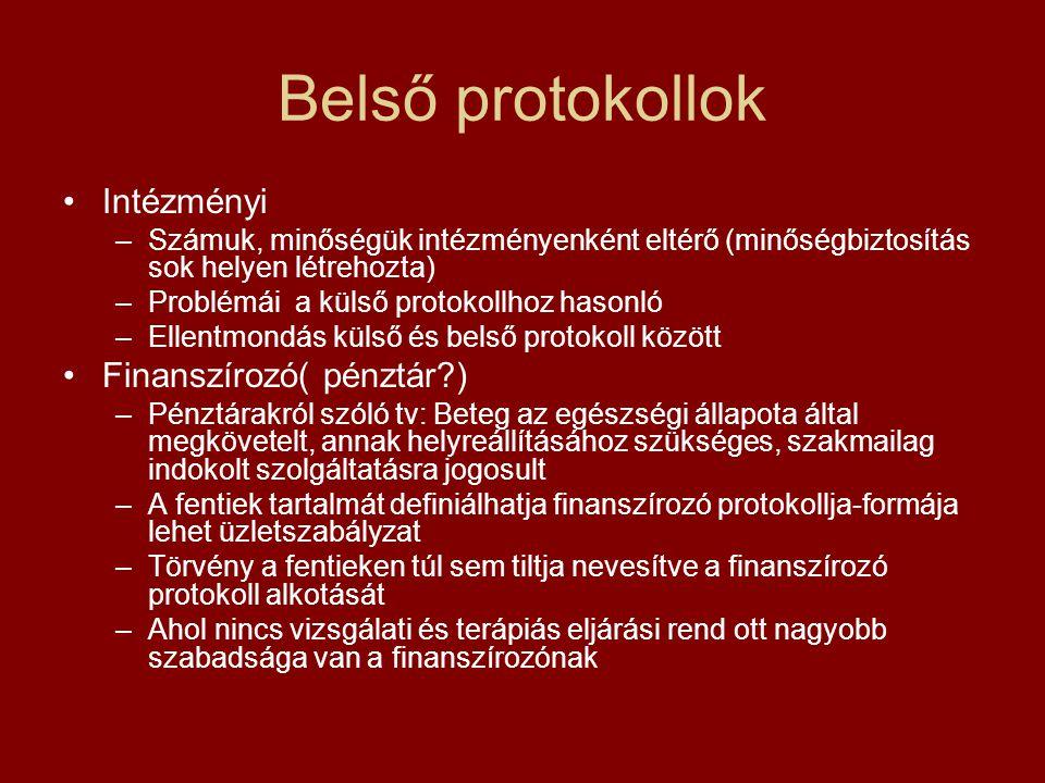 Belső protokollok Intézményi –Számuk, minőségük intézményenként eltérő (minőségbiztosítás sok helyen létrehozta) –Problémái a külső protokollhoz hason