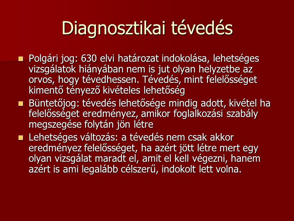 Diagnosztikai tévedés Polgári jog: 630 elvi határozat indokolása, lehetséges vizsgálatok hiányában nem is jut olyan helyzetbe az orvos, hogy tévedhess