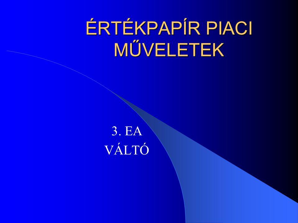 ÉRTÉKPAPÍR PIACI MŰVELETEK 3. EA VÁLTÓ