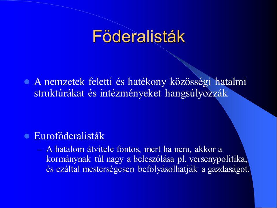 Föderalisták A nemzetek feletti és hatékony közösségi hatalmi struktúrákat és intézményeket hangsúlyozzák Euroföderalisták – A hatalom átvitele fontos