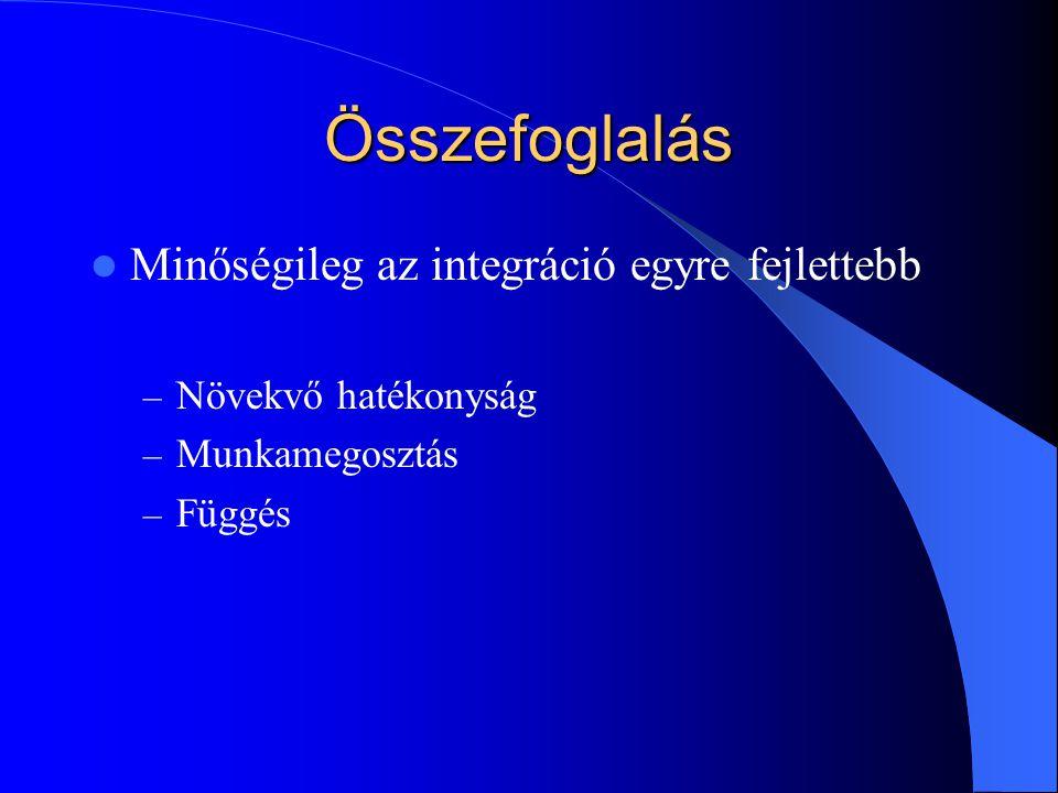 Összefoglalás Minőségileg az integráció egyre fejlettebb – Növekvő hatékonyság – Munkamegosztás – Függés