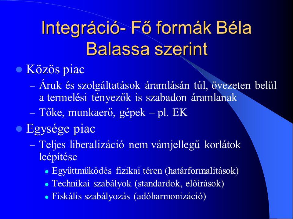Integráció- Fő formák Béla Balassa szerint Közös piac – Áruk és szolgáltatások áramlásán túl, övezeten belül a termelési tényezők is szabadon áramlana