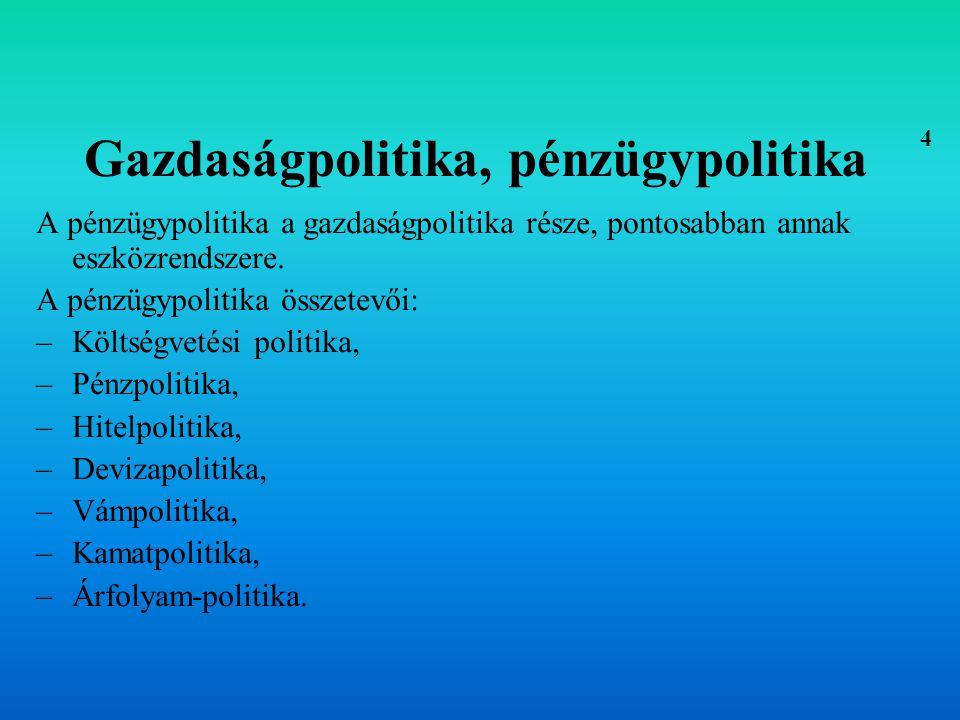 A pénzügypolitika fő megjelenési formái FISKÁLIS POLITIKA (kormányzati kiadásokkal és az adózással összefüggő mechanizmusokon keresztül próbál hatni a gazdaság szereplőire) MONETÁRIS POLITIKA (pénzkínálat és/vagy a kamatláb szabályozásán keresztül próbálja befolyásolni a gazdasági folyamatokat) 5