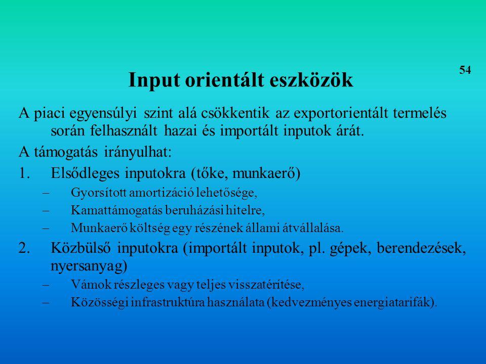 Output orientált eszközök 1.Közvetlen ösztönzők –Kedvezményes exporthitelek, –Exportgarancia, –Egyedi segély, –Exportszubvenció.