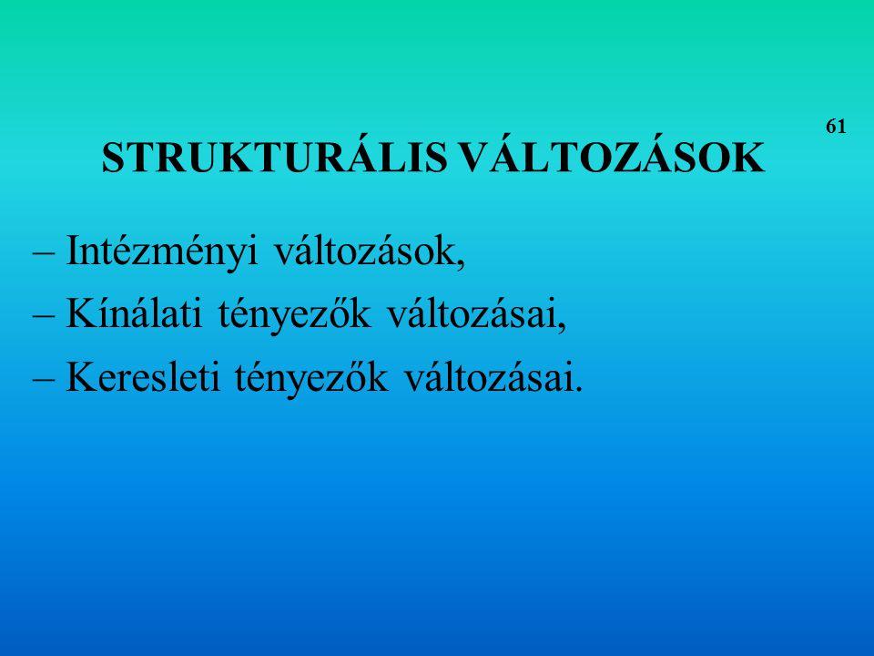 Intézményi változások Befolyásoló tényezők: –Adórendszer pl.