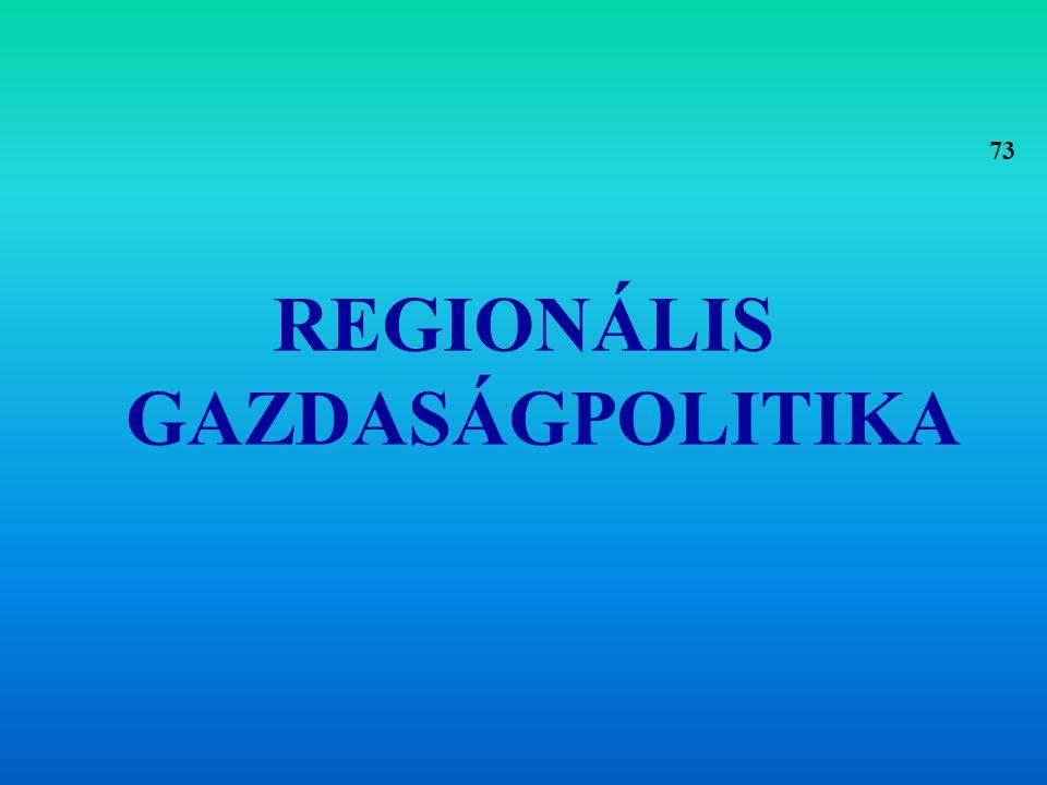 Definíció: Regionális politikának nevezzük a társadalom térbeli létének befolyásolására törekvő kormányzati politikát.