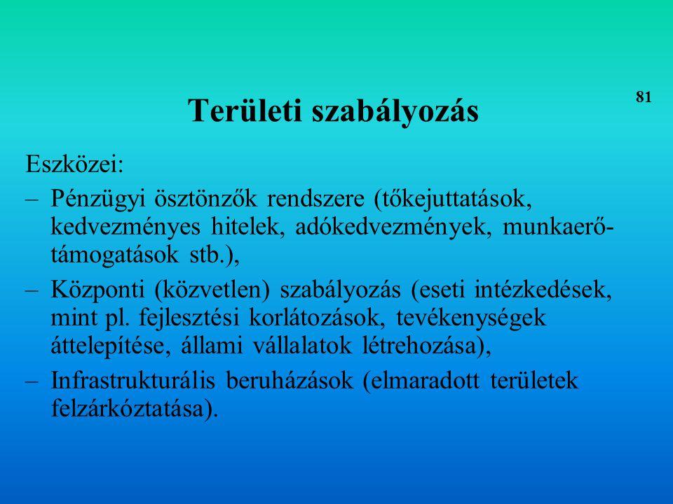Területi intézményi rendszer Hagyományos regionális politika: Az intézményrendszer jellemzően centralizált.