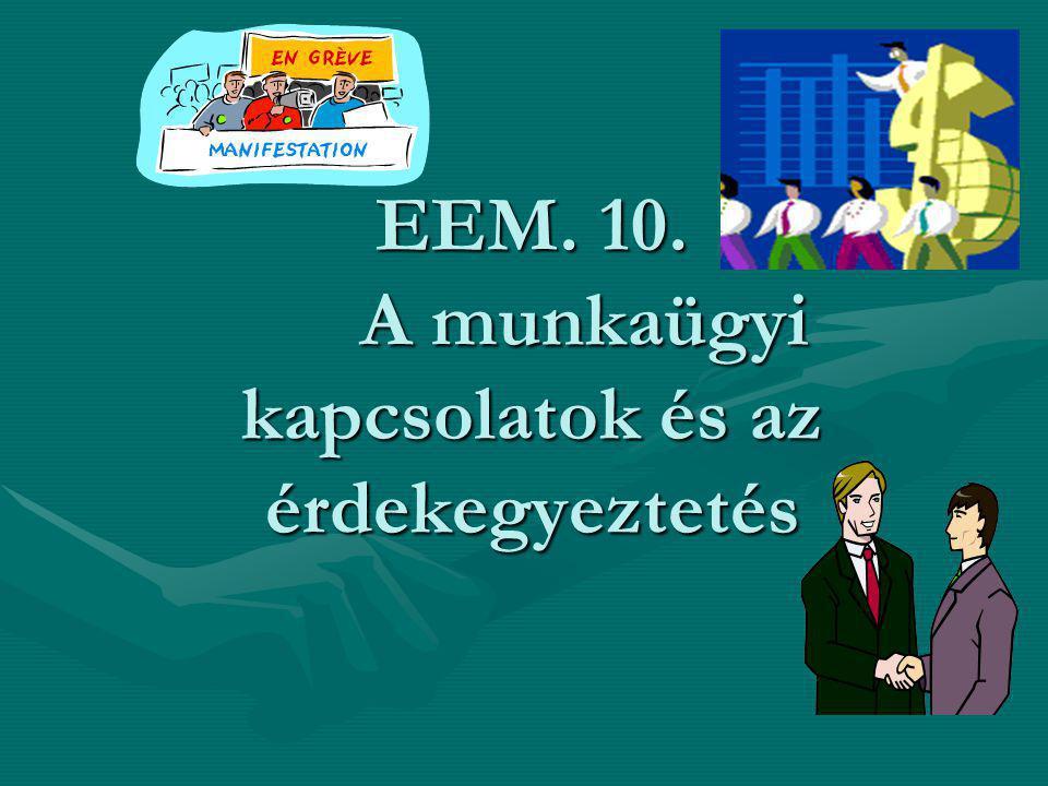 EEM. 10. A munkaügyi kapcsolatok és az érdekegyeztetés