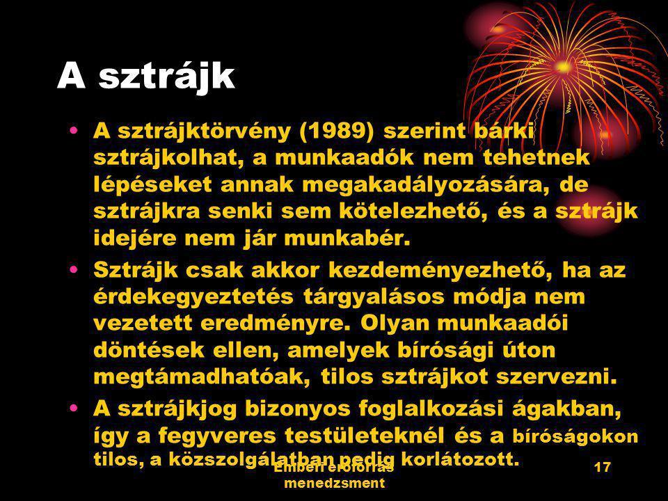 Emberi erőforrás menedzsment 17 A sztrájk A sztrájktörvény (1989) szerint bárki sztrájkolhat, a munkaadók nem tehetnek lépéseket annak megakadályozásá