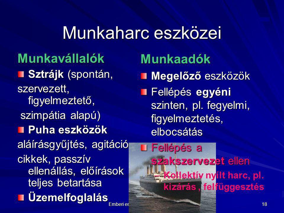 Emberi erőforrás menedzsment 18 Munkaharc eszközei Munkavállalók Sztrájk (spontán, szervezett, figyelmeztető, szimpátia alapú) szimpátia alapú) Puha e