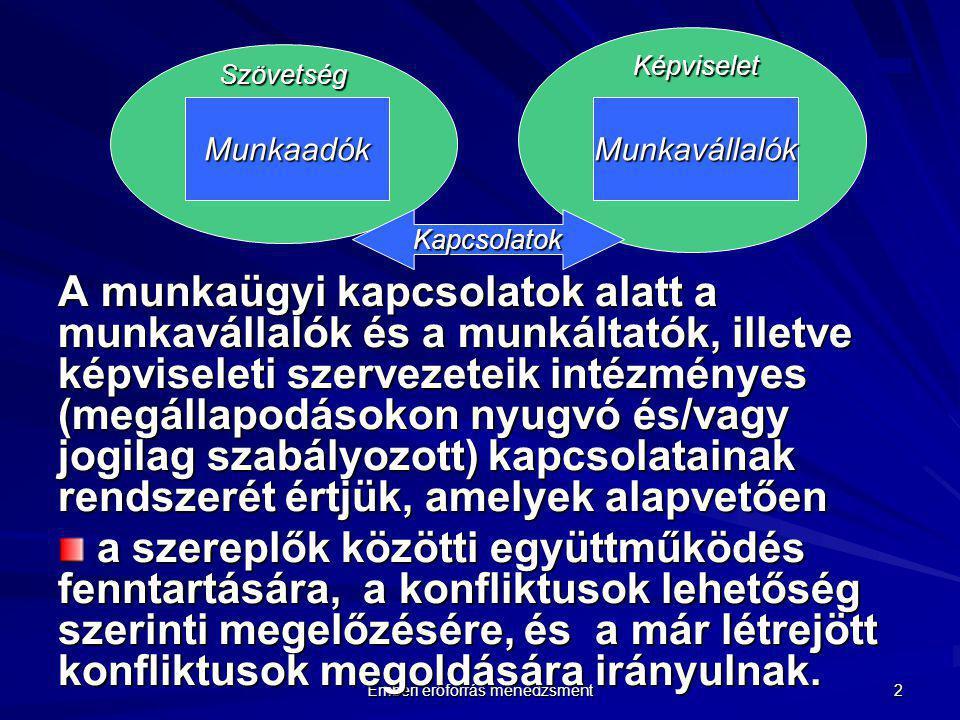 Emberi erőforrás menedzsment 2 A munkaügyi kapcsolatok alatt a munkavállalók és a munkáltatók, illetve képviseleti szervezeteik intézményes (megállapo