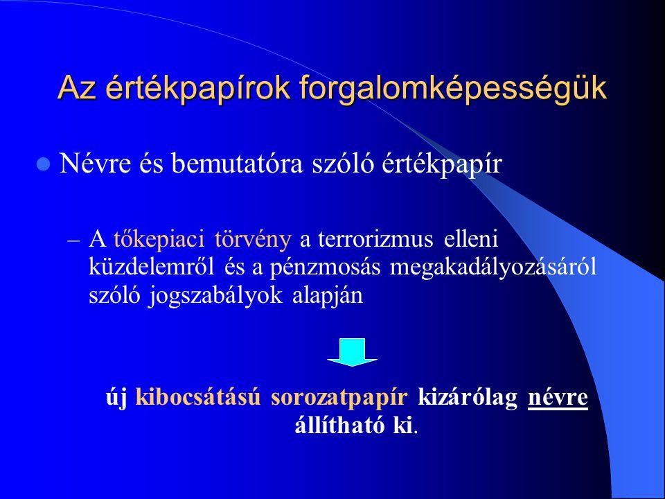 Az értékpapírok forgalomképességük Névre és bemutatóra szóló értékpapír – A tőkepiaci törvény a terrorizmus elleni küzdelemről és a pénzmosás megakadá