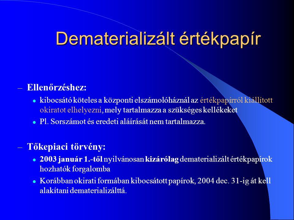 Dematerializált értékpapír – Ellenőrzéshez: kibocsátó köteles a központi elszámolóháznál az értékpapírról kiállított okiratot elhelyezni, mely tartalmazza a szükséges kellékeket Pl.