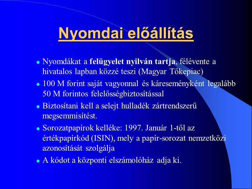 Nyomdai előállítás Nyomdákat a felügyelet nyilván tartja, félévente a hivatalos lapban közzé teszi (Magyar Tőkepiac) 100 M forint saját vagyonnal és k
