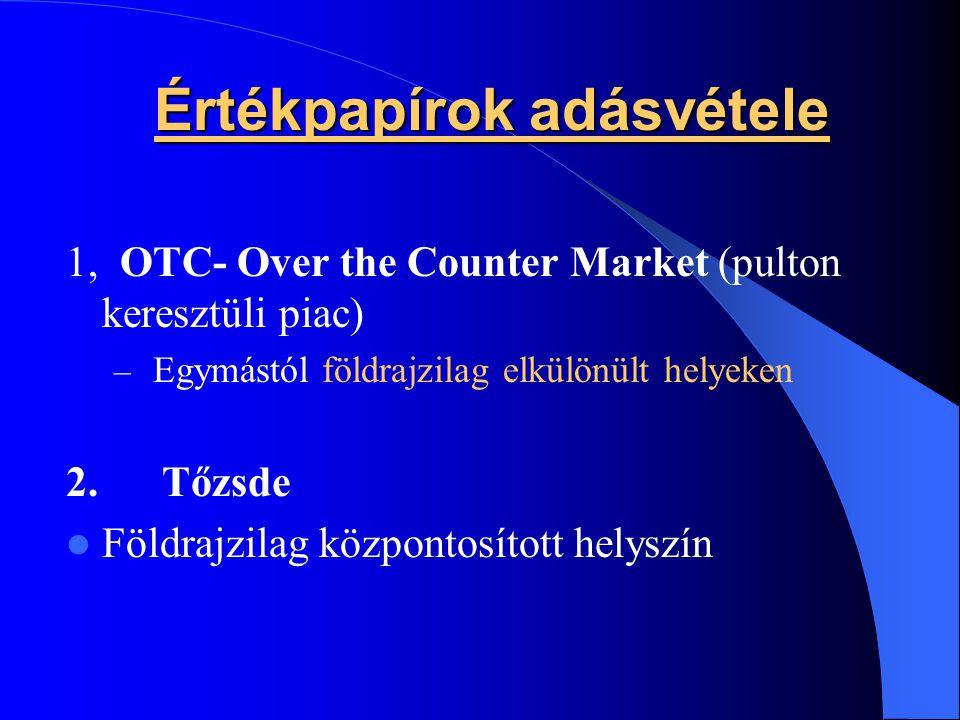 Értékpapírok adásvétele 1, OTC- Over the Counter Market (pulton keresztüli piac) – Egymástól földrajzilag elkülönült helyeken 2. Tőzsde Földrajzilag k