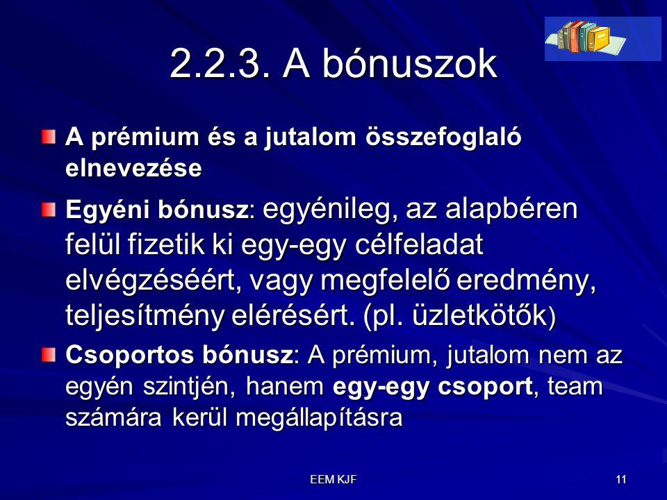 EEM KJF 11 2.2.3. A bónuszok A prémium és a jutalom összefoglaló elnevezése Egyéni bónusz: egyénileg, az alapbéren felül fizetik ki egy-egy célfeladat