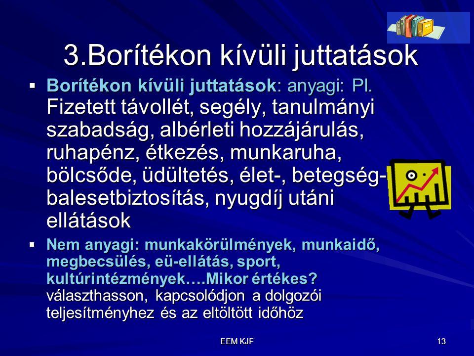 EEM KJF 13 3.Borítékon kívüli juttatások 3.Borítékon kívüli juttatások  Borítékon kívüli juttatások: anyagi: Pl. Fizetett távollét, segély, tanulmány