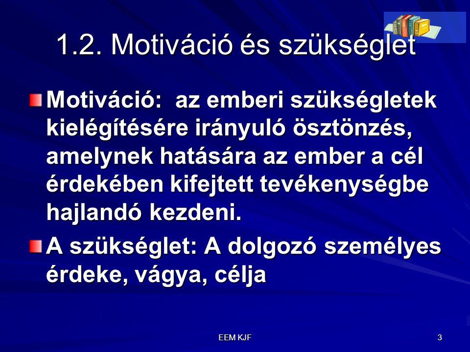 EEM KJF 3 1.2. Motiváció és szükséglet Motiváció: az emberi szükségletek kielégítésére irányuló ösztönzés, amelynek hatására az ember a cél érdekében