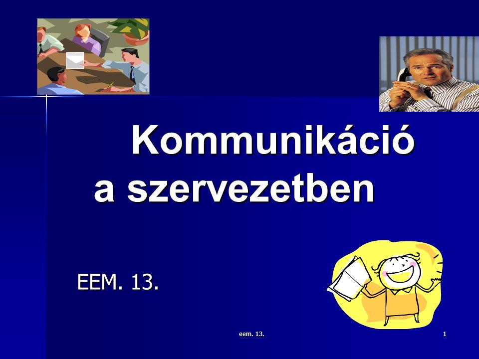 eem. 13. 1 Kommunikáció a szervezetben EEM. 13.